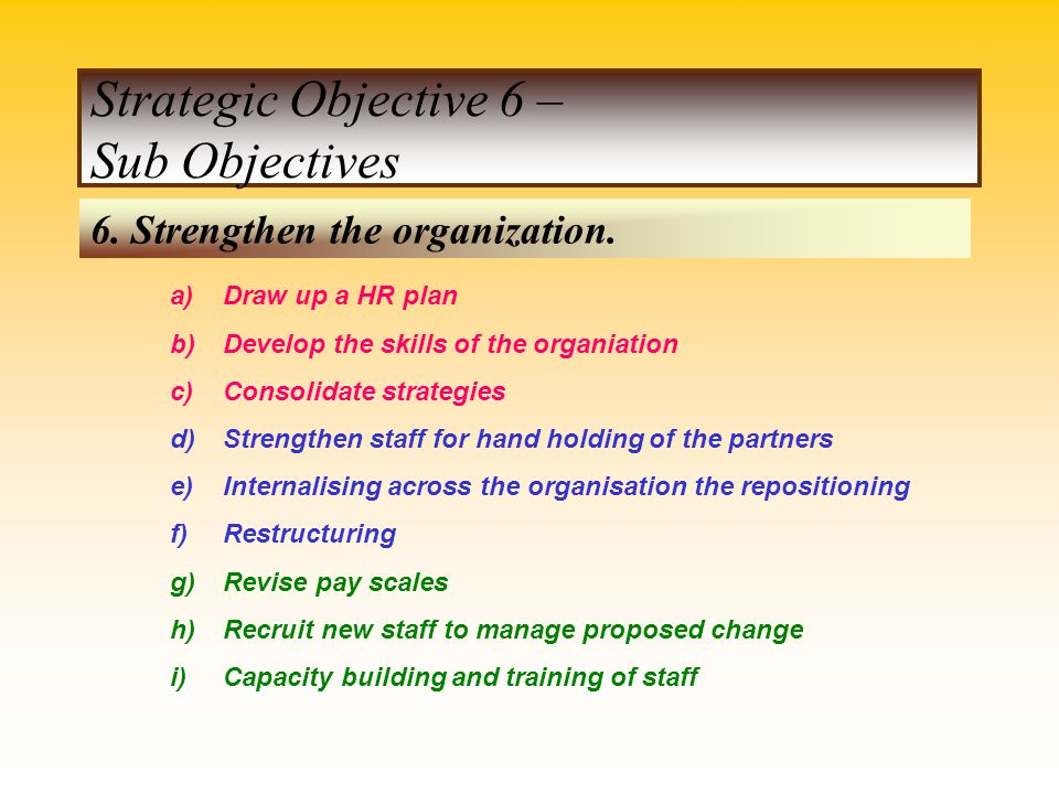 Strategic Objective 6 – Sub Objectives
