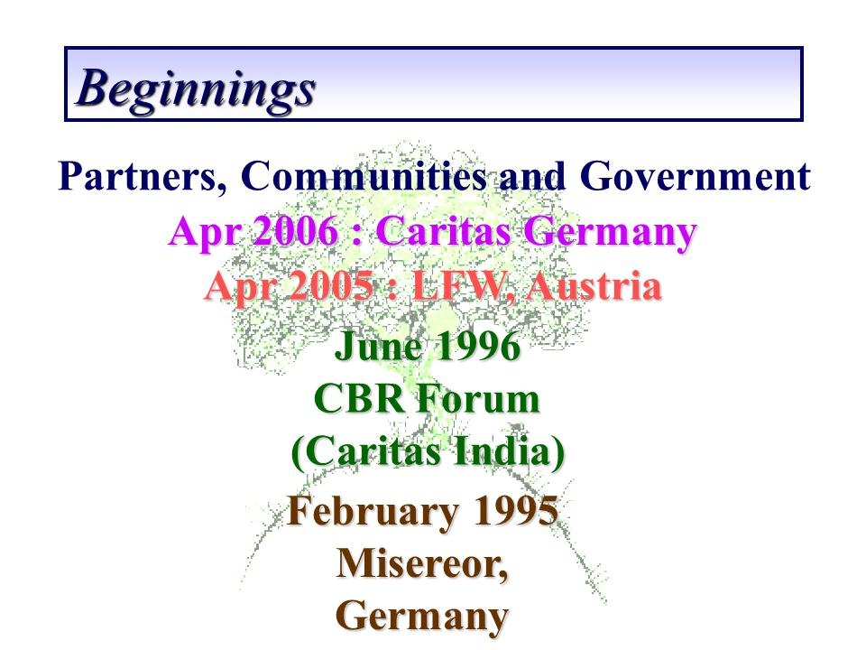 CBR Forum (Caritas India) February 1995 Misereor, Germany