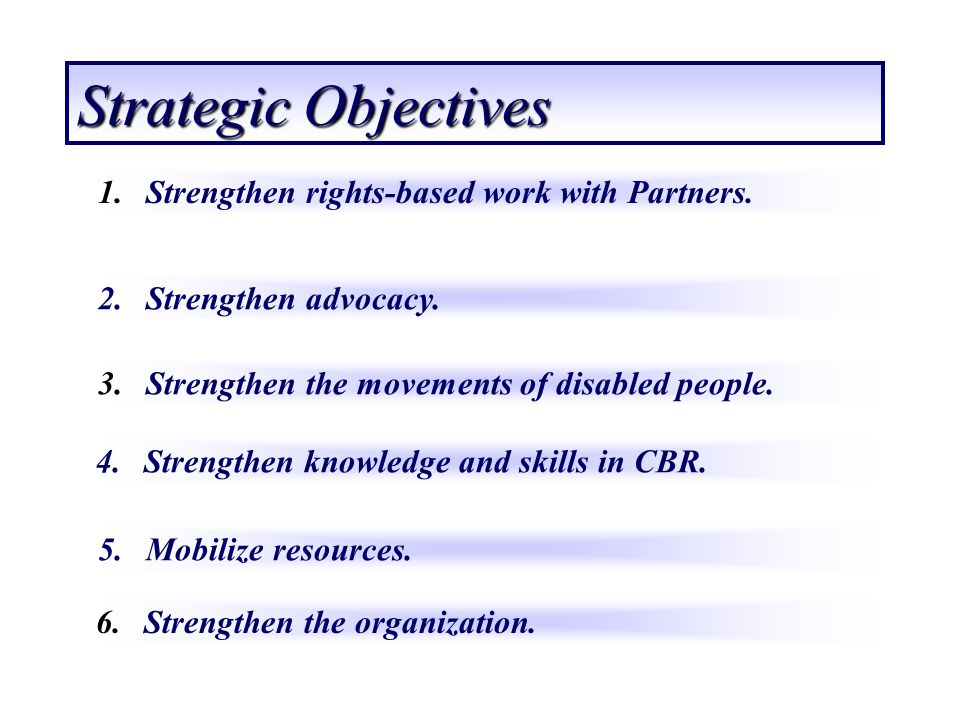 Strategic Objectives Strengthen rights-based work with Partners.