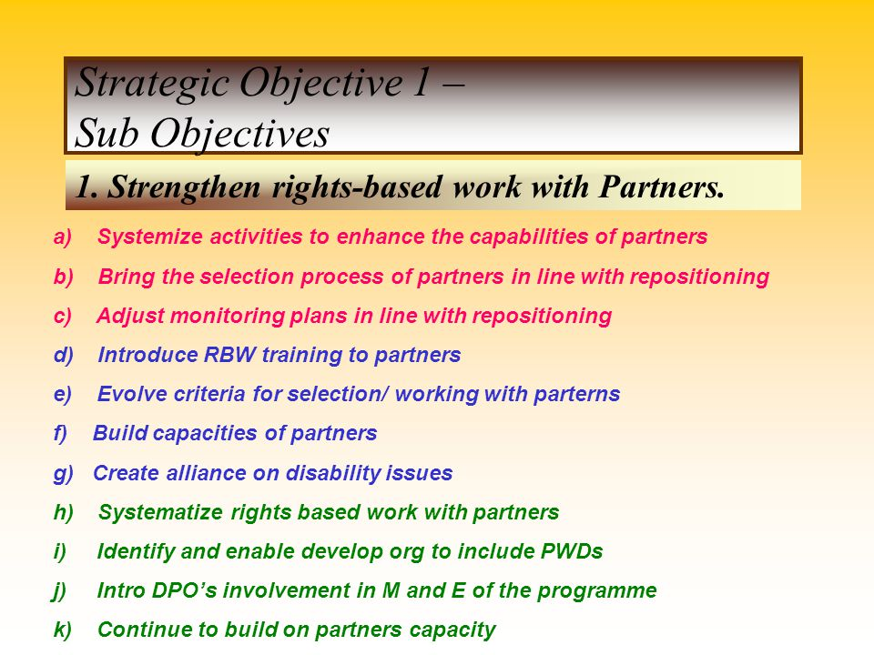 Strategic Objective 1 – Sub Objectives