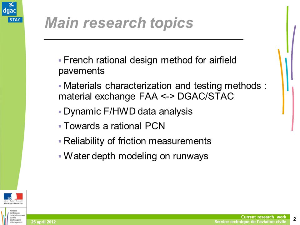Main research topics French rational design method for airfield pavements.