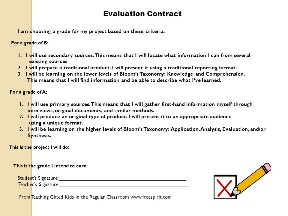 Evaluation Contract I am choosing a grade for my project based on these criteria. For a grade of B: