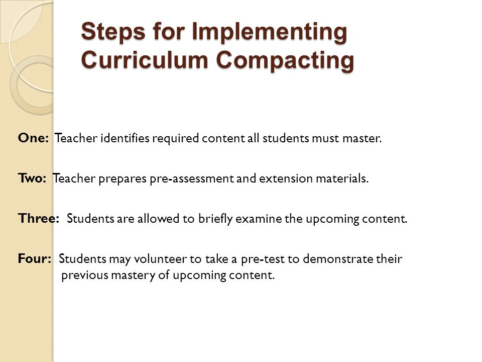 Steps for Implementing Curriculum Compacting