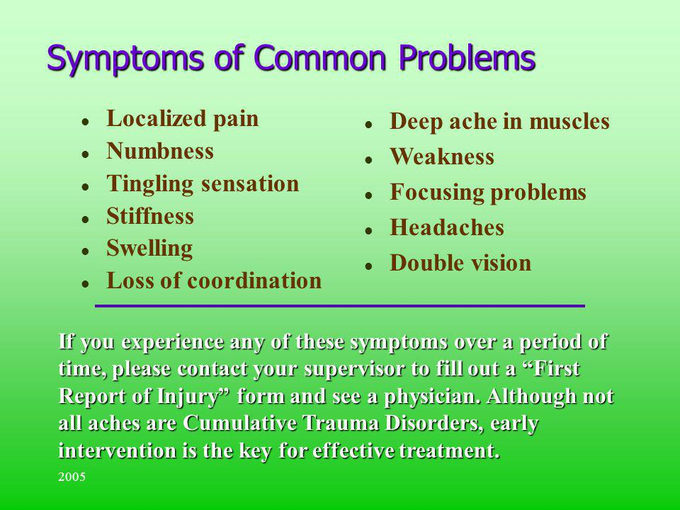 Symptoms of Common Problems