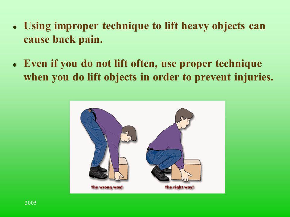 Using improper technique to lift heavy objects can cause back pain.