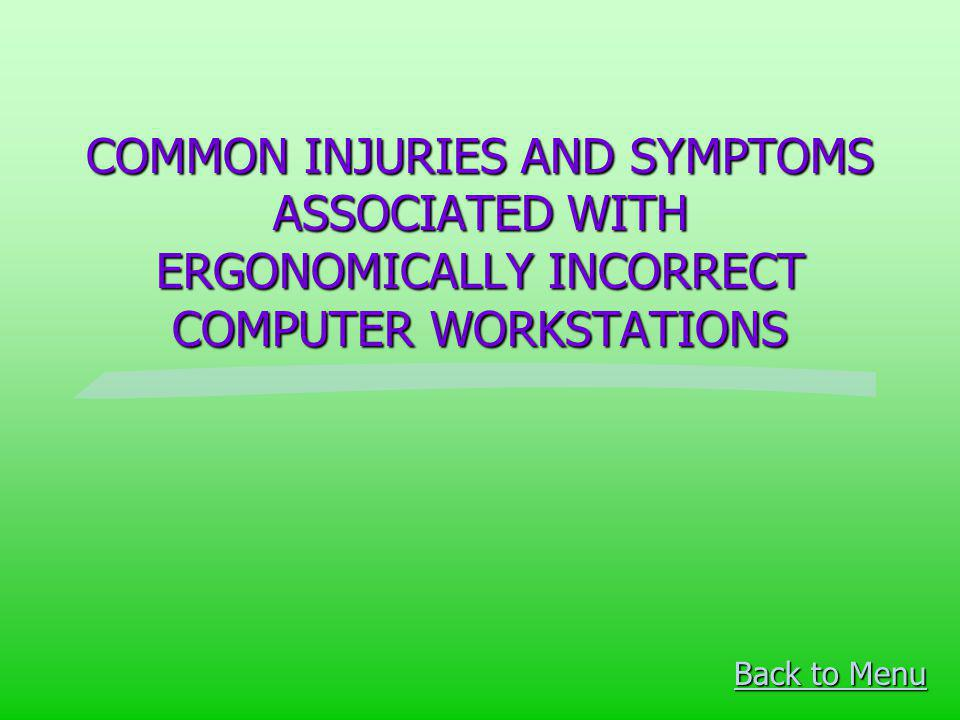 COMMON INJURIES AND SYMPTOMS ASSOCIATED WITH ERGONOMICALLY INCORRECT COMPUTER WORKSTATIONS