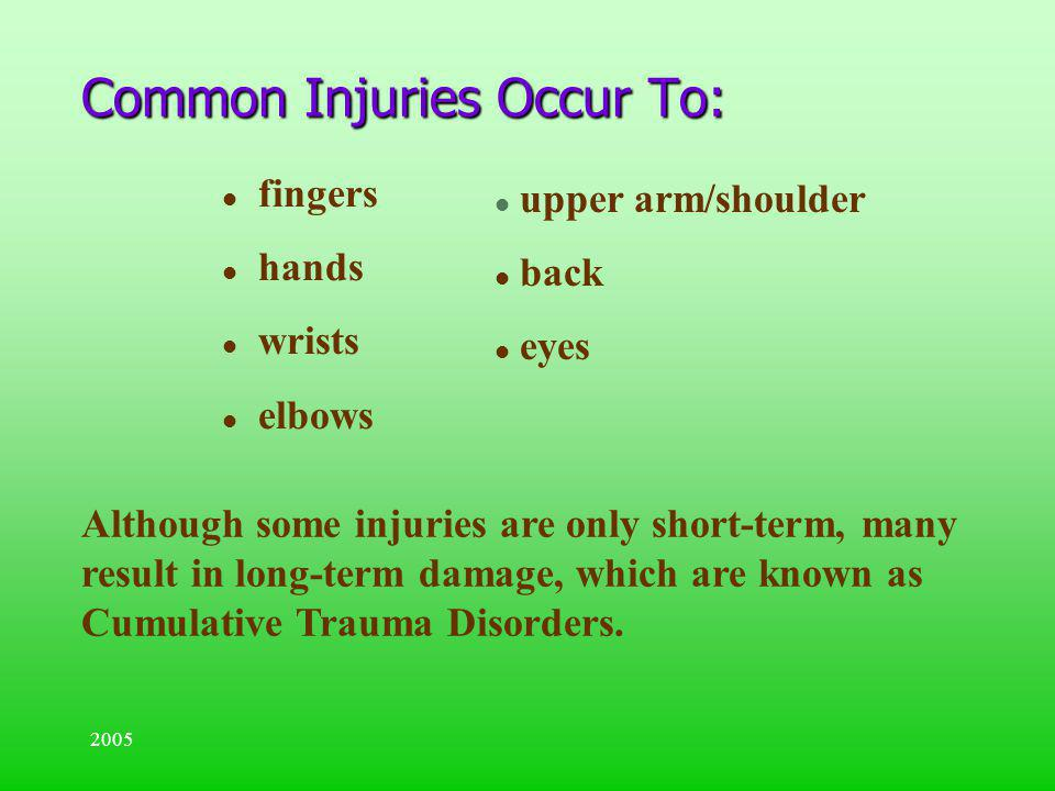 Common Injuries Occur To: