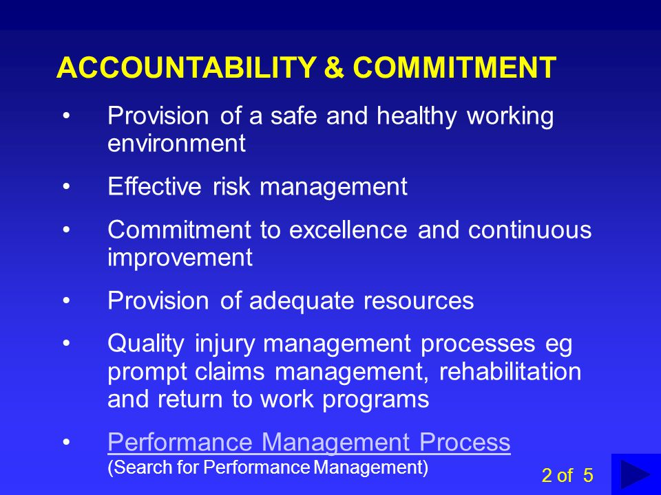 ACCOUNTABILITY & COMMITMENT