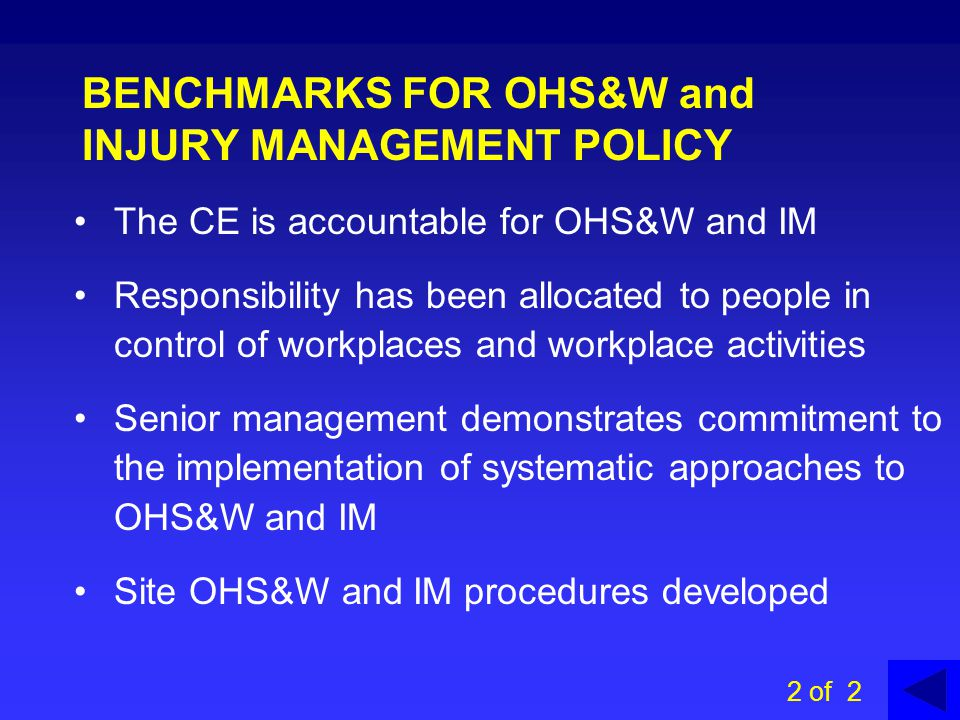 BENCHMARKS FOR OHS&W and INJURY MANAGEMENT POLICY