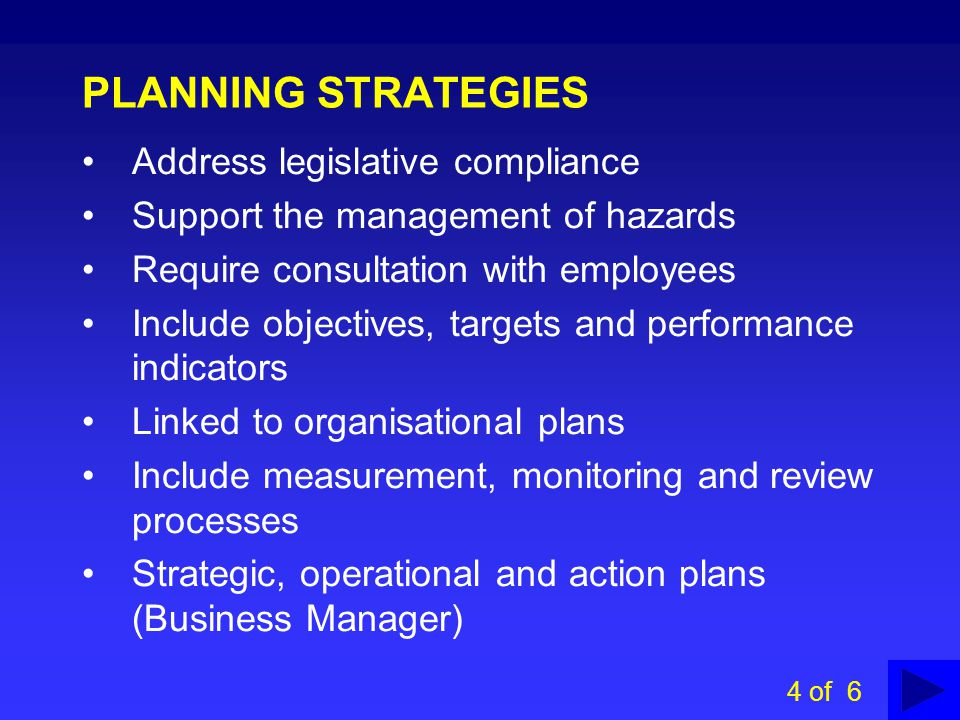 PLANNING STRATEGIES Address legislative compliance