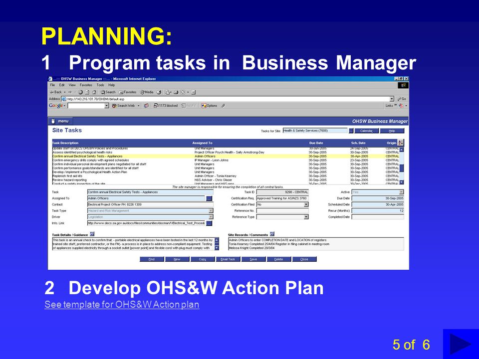 Decs ohs w management system ppt video online download for Ohs management plan template