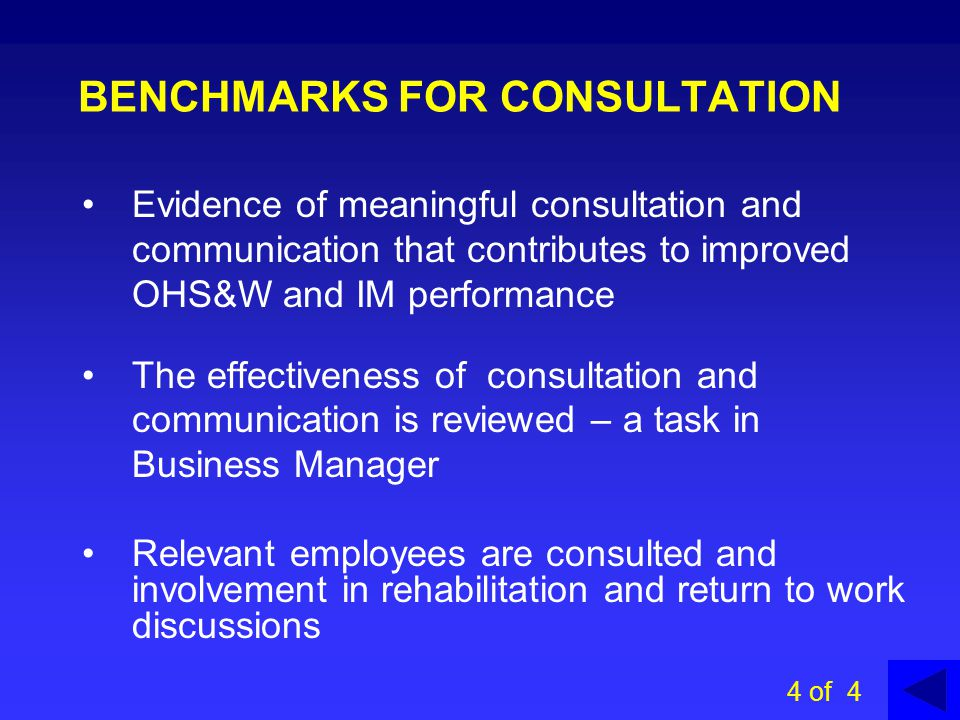 BENCHMARKS FOR CONSULTATION