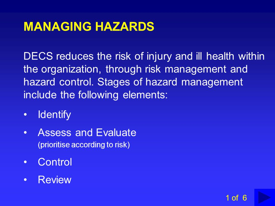 MANAGING HAZARDS