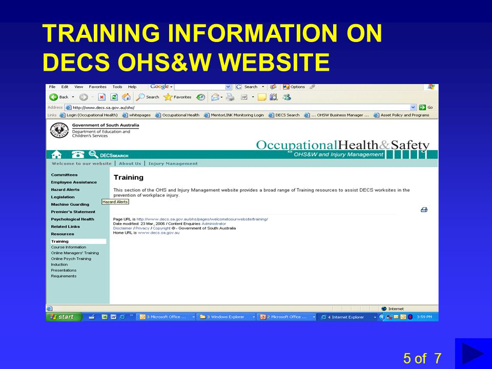 TRAINING INFORMATION ON DECS OHS&W WEBSITE