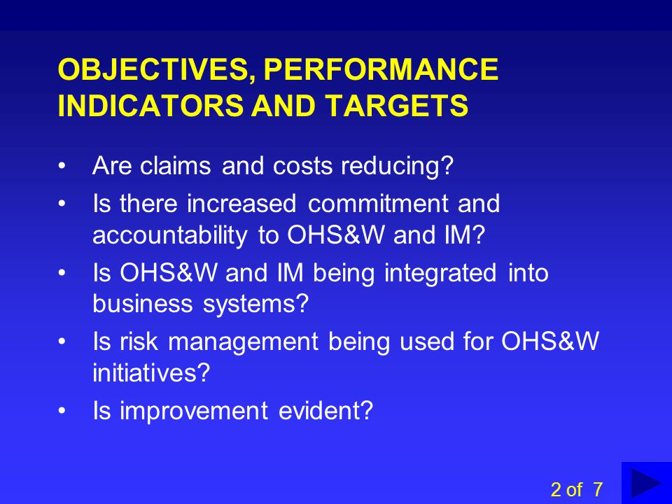 OBJECTIVES, PERFORMANCE INDICATORS AND TARGETS