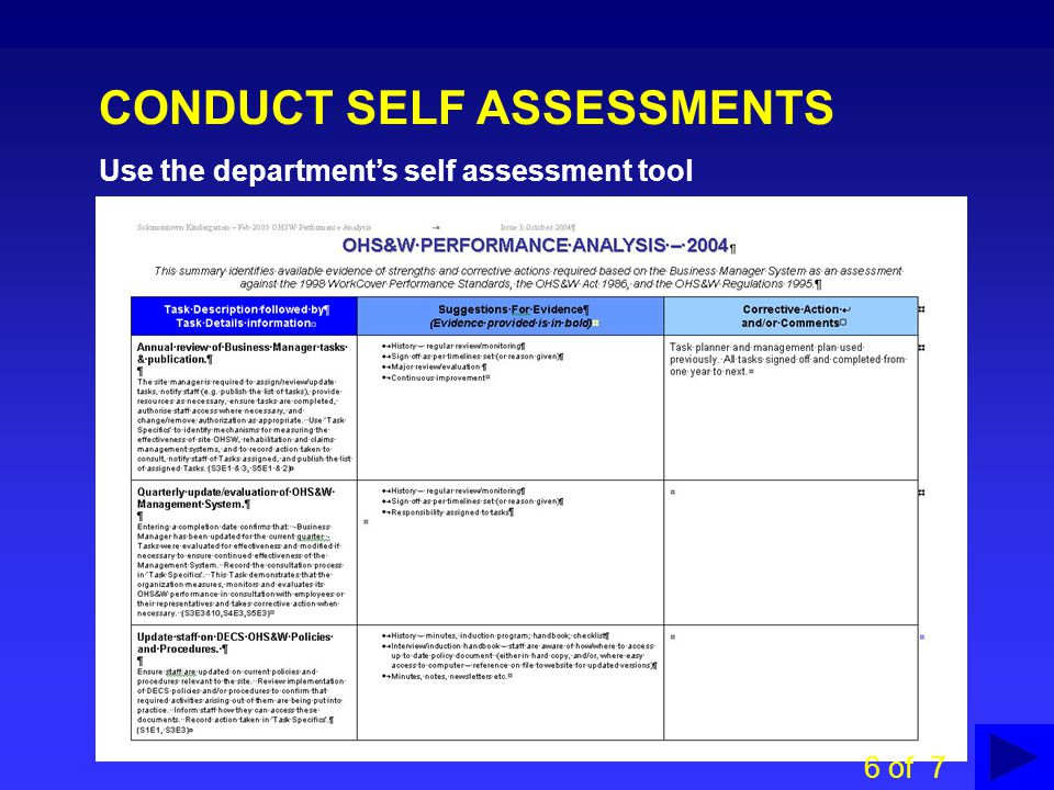 CONDUCT SELF ASSESSMENTS Use the department's self assessment tool