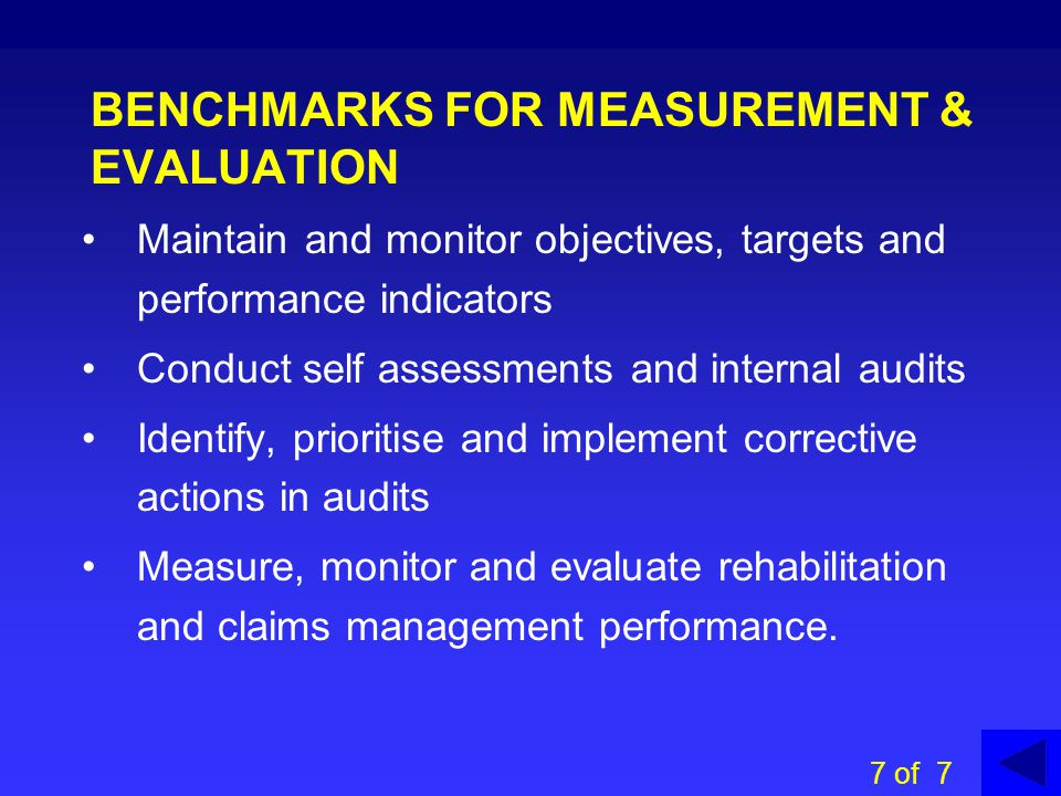 BENCHMARKS FOR MEASUREMENT & EVALUATION