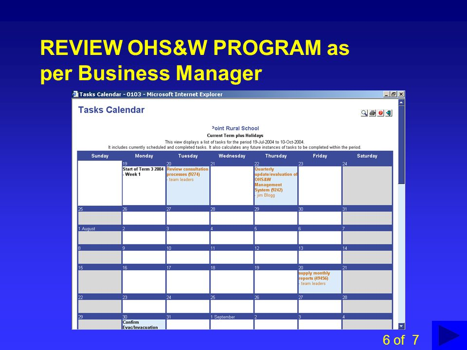 REVIEW OHS&W PROGRAM as per Business Manager