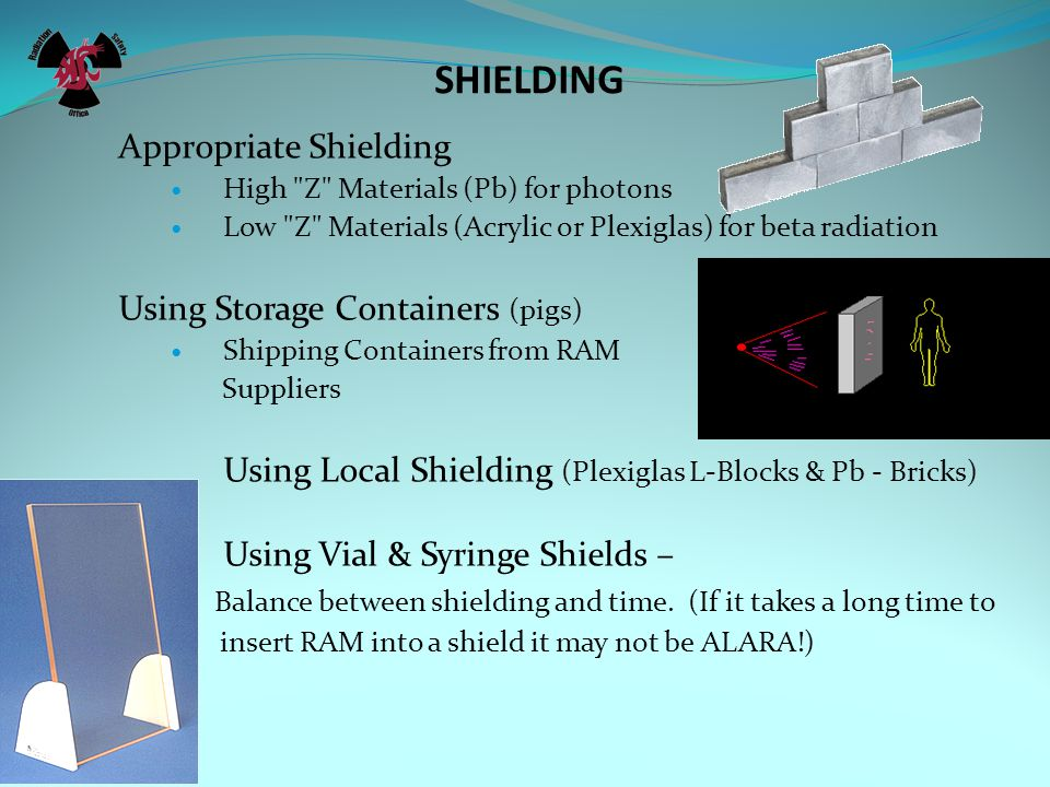 SHIELDING Appropriate Shielding Using Storage Containers (pigs)