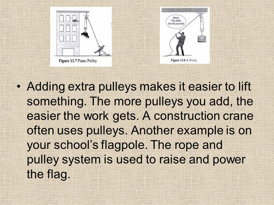 Adding extra pulleys makes it easier to lift something