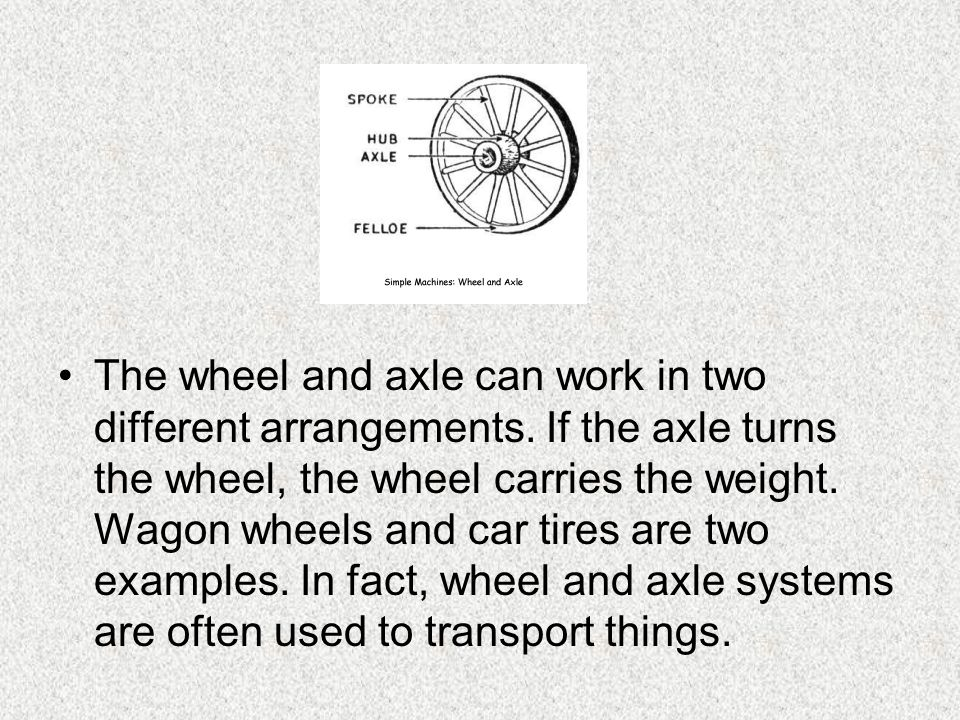 The wheel and axle can work in two different arrangements