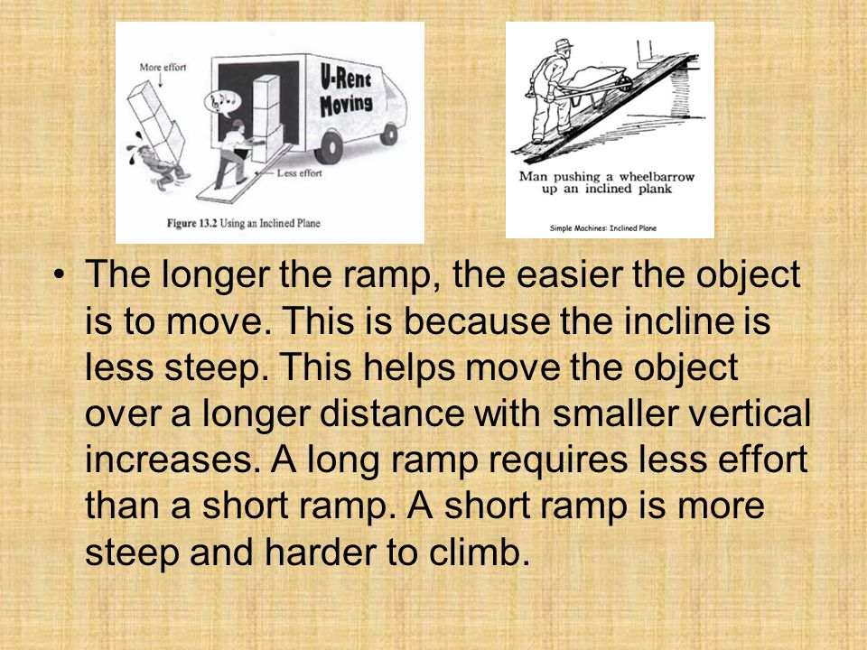 The longer the ramp, the easier the object is to move