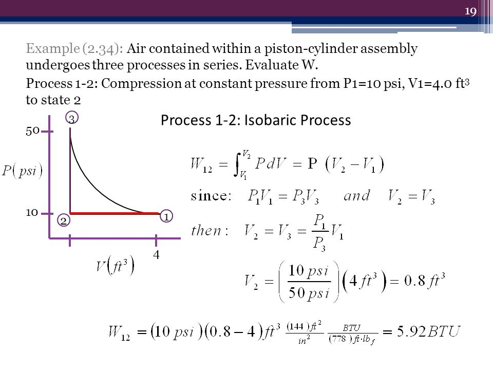 Process 1-2: Isobaric Process