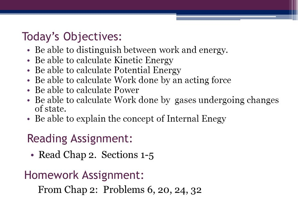 Today's Objectives: Reading Assignment: Homework Assignment: