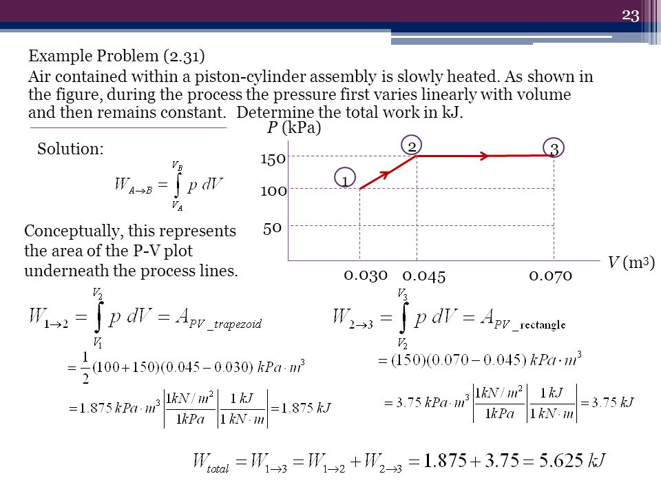Example Problem (2.31) Air contained within a piston-cylinder assembly is slowly heated. As shown in the figure, during the process the pressure first varies linearly with volume and then remains constant. Determine the total work in kJ.