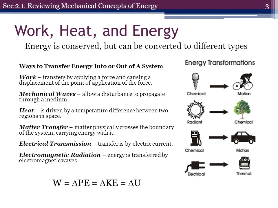 Work, Heat, and Energy W = PE = KE = U