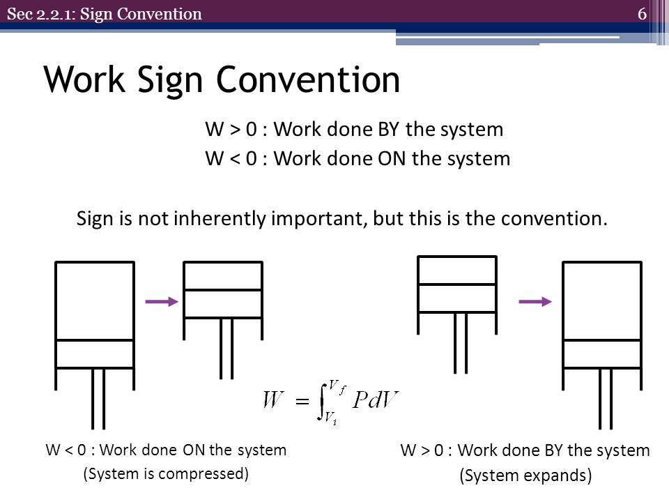 Sec 2.2.1: Sign Convention Work Sign Convention. W > 0 : Work done BY the system W < 0 : Work done ON the system