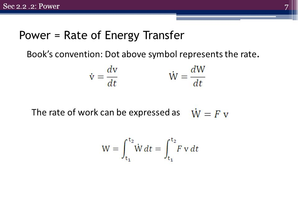 Power = Rate of Energy Transfer
