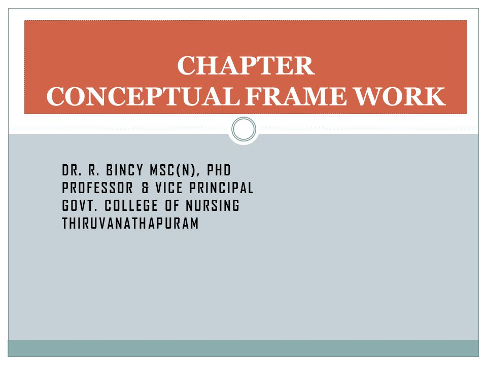 CHAPTER CONCEPTUAL FRAME WORK