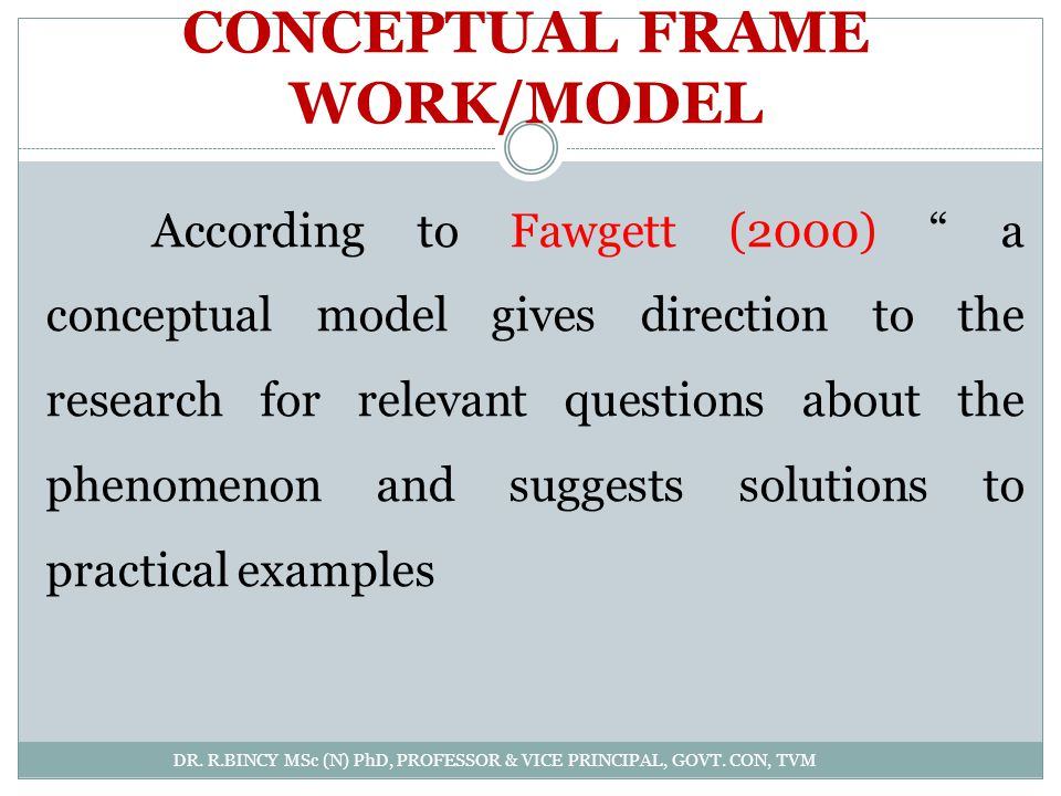CONCEPTUAL FRAME WORK/MODEL