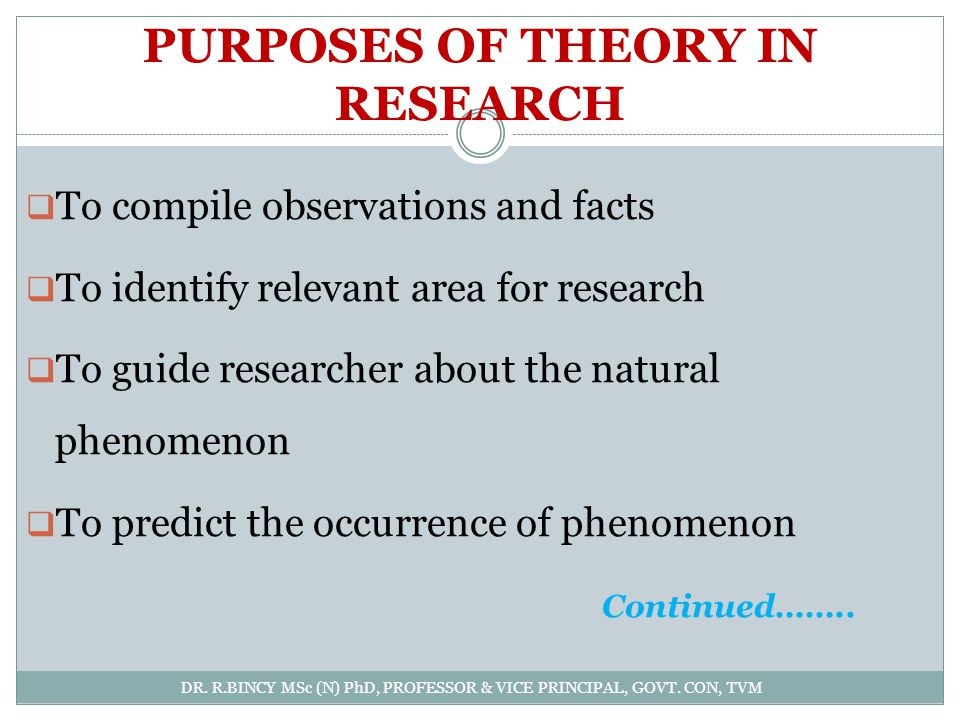 PURPOSES OF THEORY IN RESEARCH