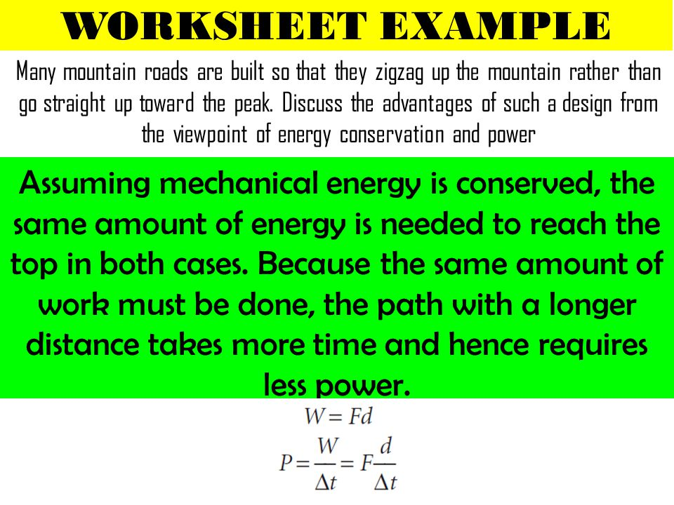 Chapter 5 WORK and ENERGY ppt download – Energy Conservation Worksheet