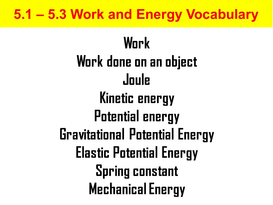5.1 – 5.3 Work and Energy Vocabulary