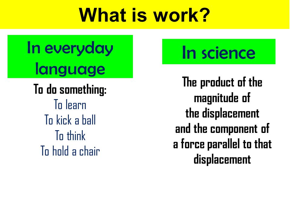 What is work In science In everyday language