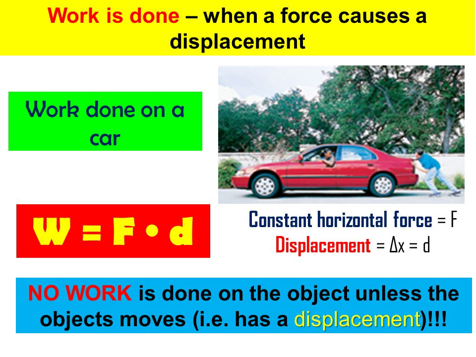 Work is done – when a force causes a displacement