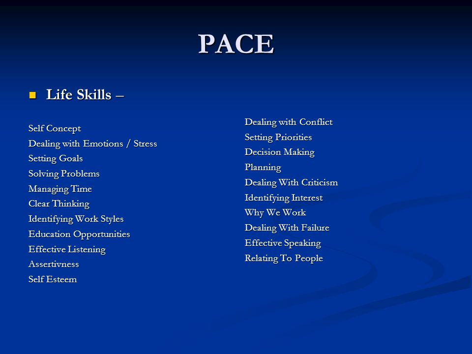 PACE Life Skills – Dealing with Conflict Self Concept