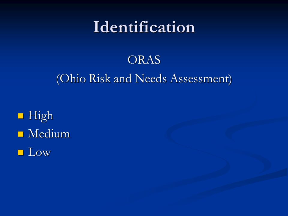 (Ohio Risk and Needs Assessment)