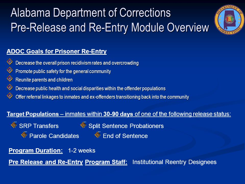 Alabama Department of Corrections Pre-Release and Re-Entry Module Overview