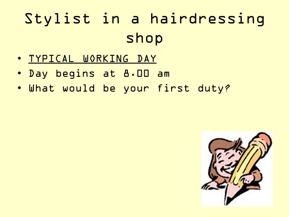 Stylist in a hairdressing shop