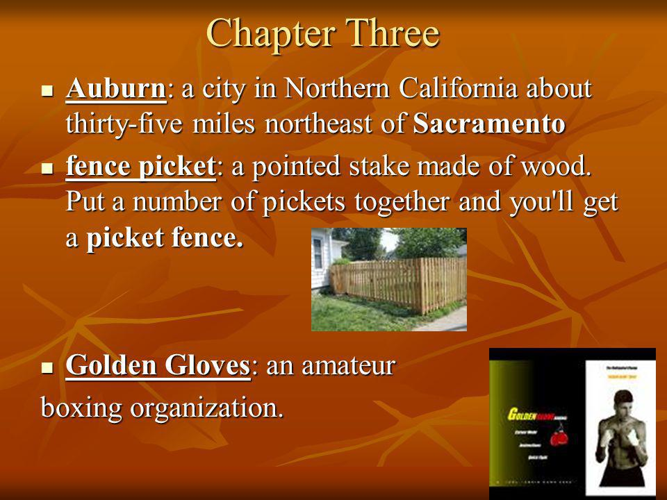 Chapter Three Auburn: a city in Northern California about thirty-five miles northeast of Sacramento.