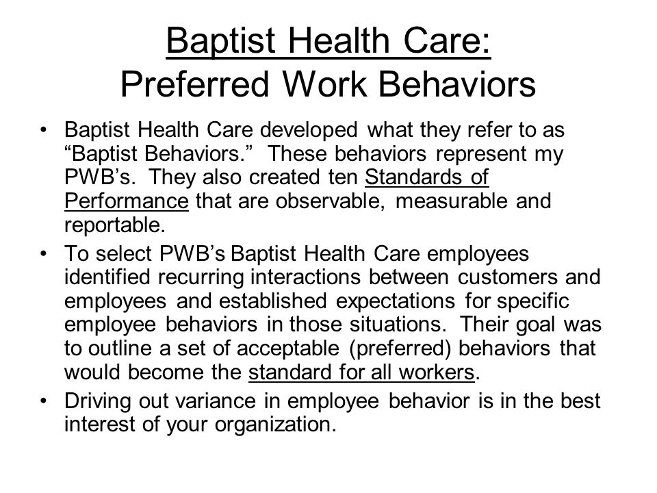Baptist Health Care: Preferred Work Behaviors