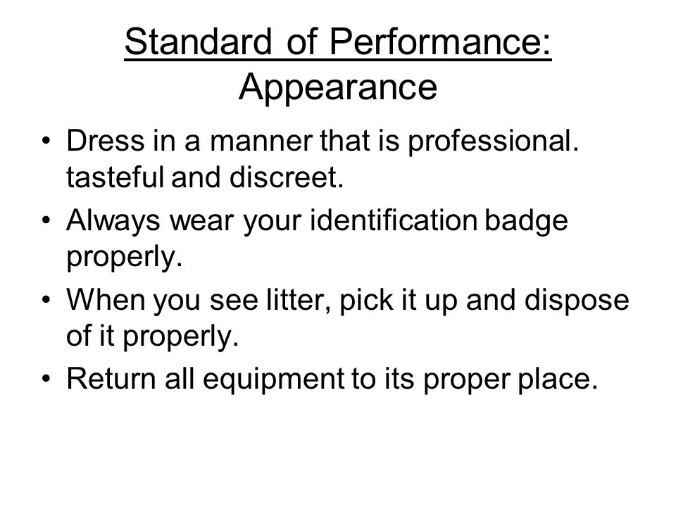 Standard of Performance: Appearance
