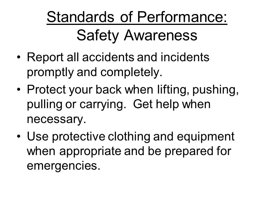 Standards of Performance: Safety Awareness