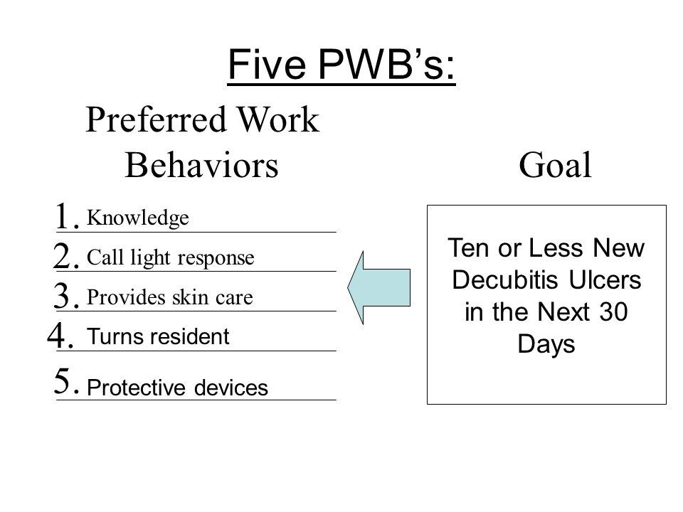 Five PWB's: Preferred Work Behaviors Goal 1. 2. 3. 4. 5.
