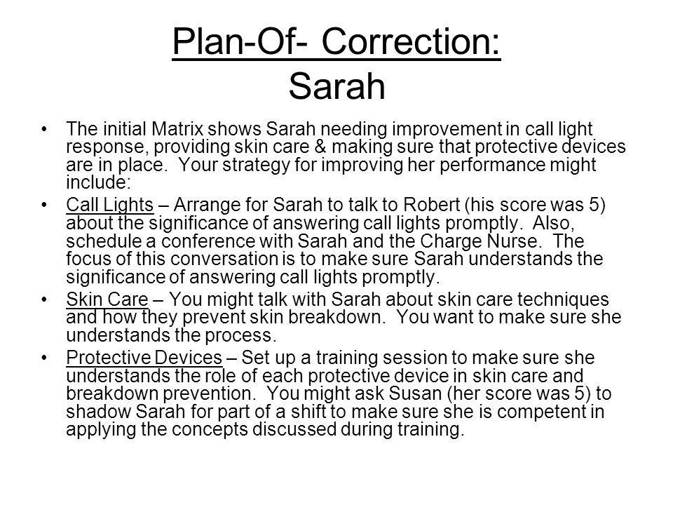 Plan-Of- Correction: Sarah