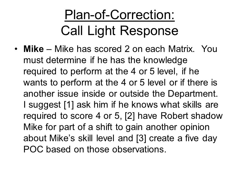 Plan-of-Correction: Call Light Response